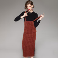 MISSLISA女装套装欧美时尚气质针织灯芯绒背带裙套装1850407