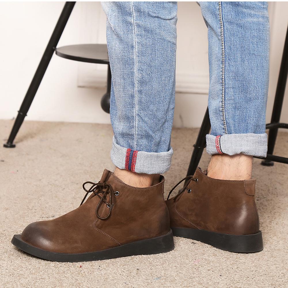 cleef 男式 高帮休闲鞋牛皮男士切尔西靴英伦复古皮靴