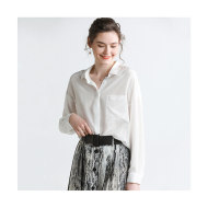 MISSLISA真丝衬衫女100%桑蚕丝纯色简约长袖上衣19902