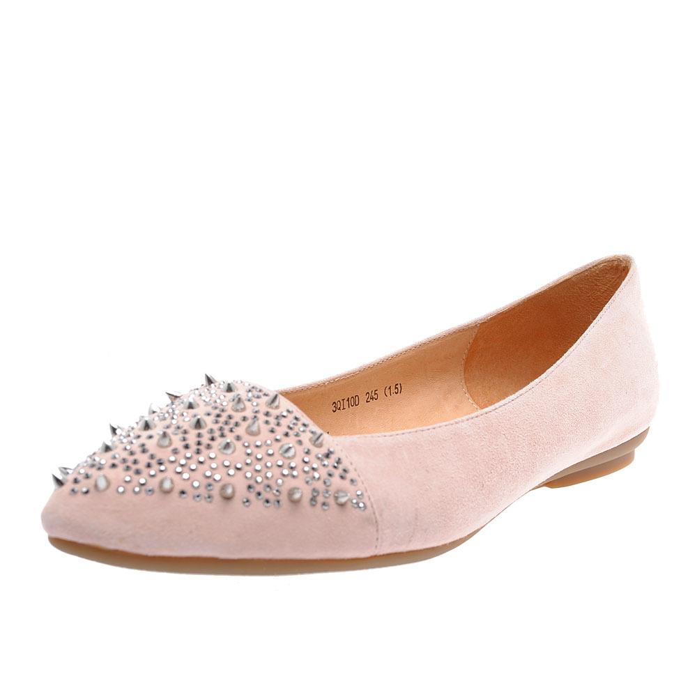 森达女款羊绒皮铆钉平底鞋
