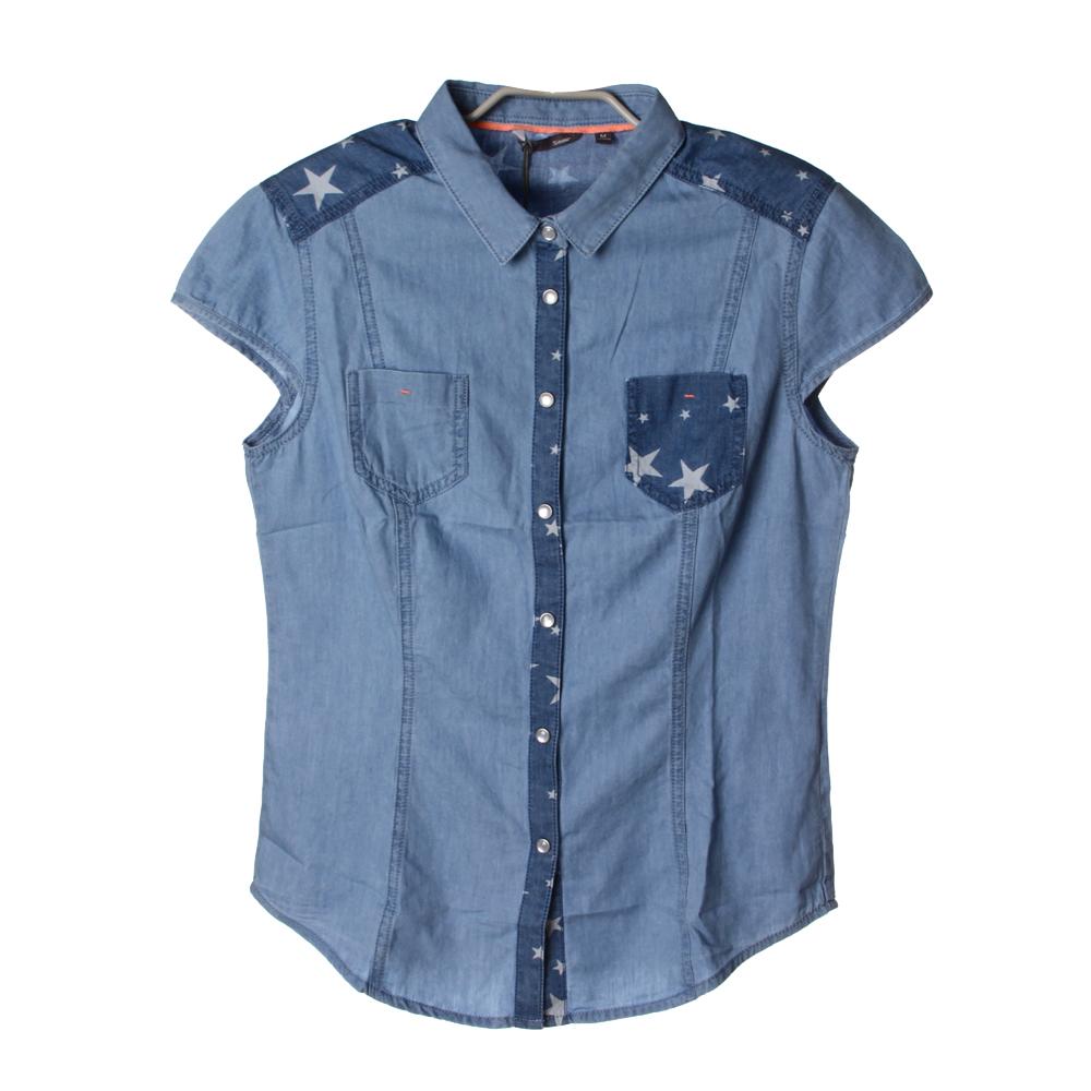 semir森马女款短袖牛仔休闲衬衫