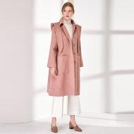 MISSLISA可脱卸帽子加厚双面羊毛呢大衣女中长款A字型宽松大码呢外套