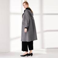 MISSLISA可脱卸水貂毛领连帽羊绒大衣女双面小A型宽松单排扣外套