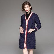 MISS LISA优雅纯色V领中长款白鸭绒羽绒服