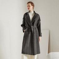 MISSLISA手缝双面羊绒大衣人字纹系带长款毛呢大衣外套羊绒/羊毛大衣FL-S103-A