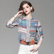 MISS LISA立领几何撞色真丝衬衣 2019款 1853604