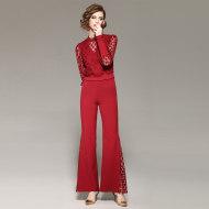 MissLisa小高领圆点提花蕾丝上衣+拼网纱潮喇叭长裤套装