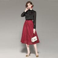 MissLisa撞色领结衬衣+特制圆点植花面料半身裙套装