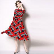 MISSLISA几何印花连衣裙中长款修身显瘦裙子N66237