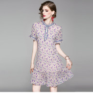 MISSLISA女装优雅浪漫宽松爱心印花中款荷叶边连衣裙1916302