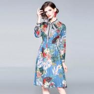 MISSLISA印花翻领系带蝴蝶结中长款连衣裙N79006