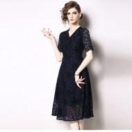 MISSLISA气质V领短袖蕾丝收腰连衣裙N66640