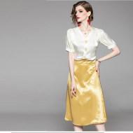 MISSLISA女装设计感V领小众上衣+纯色包臀半裙两件套装1916308