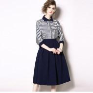 MISSLISA两件套A字裙时尚条纹衬衣+半身裙N6968