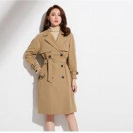 MissLisa女装经典英伦双排扣中长款女式风衣西装领外套88330