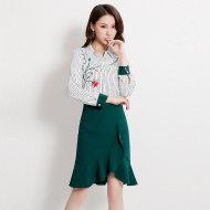 MissLisa气质女装韩版洋气绣花翻领长袖职业上衣OL条纹衬衫89328
