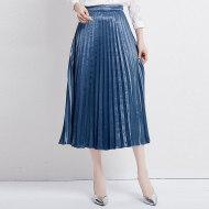 MissLisa女装韩版气质百搭复古高腰中裙子百褶梭织半身裙89260