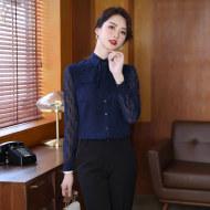 MISSLISA雪纺衬衫女长袖甜美时尚垂感超仙薄蝴蝶结系带上衣衬衣EH908衬衫