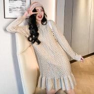 MISSLISA内搭打底针织裙子宽松显瘦圆领荷叶边连衣裙C418