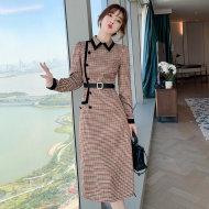 MISSLISA复古文艺设计感收腰显瘦连衣裙法式小众气质修身裙子A539