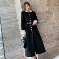 MISSLISA毛呢外套女秋冬复古撞色宽松显瘦长款绑带大衣C383
