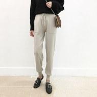 MISSLISA松紧腰哈伦裤女休闲运动口袋系带宽松显瘦针织小脚裤XY878