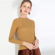 MISSLISA长袖毛衣女针织衫套头半高领上衣修身打底衫YS777