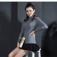MISSLISA女士针织衫韩版高领套头毛衣女百搭针织打底衫XY-X27