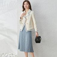 MISSLISA毛绒小香风外套+减龄百褶半裙两件套装通勤知性2027403