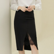 MISSLISA轻熟女装包臀裙纯色高腰显瘦时尚开叉蕾丝花边半身裙91037
