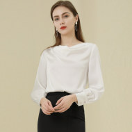 MISSLISA女装衬衣直筒显瘦上衣百搭洋气堆堆领长袖雪纺衬衫91014