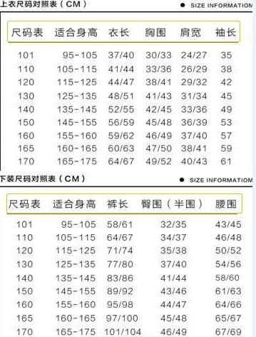 尺碼對照表